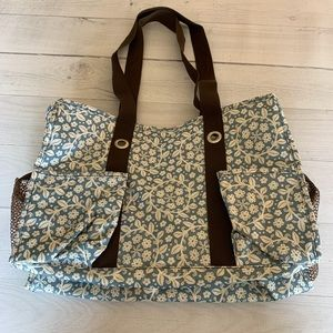 Thirty One 7 Pocket Organizer Tote Blue Floral